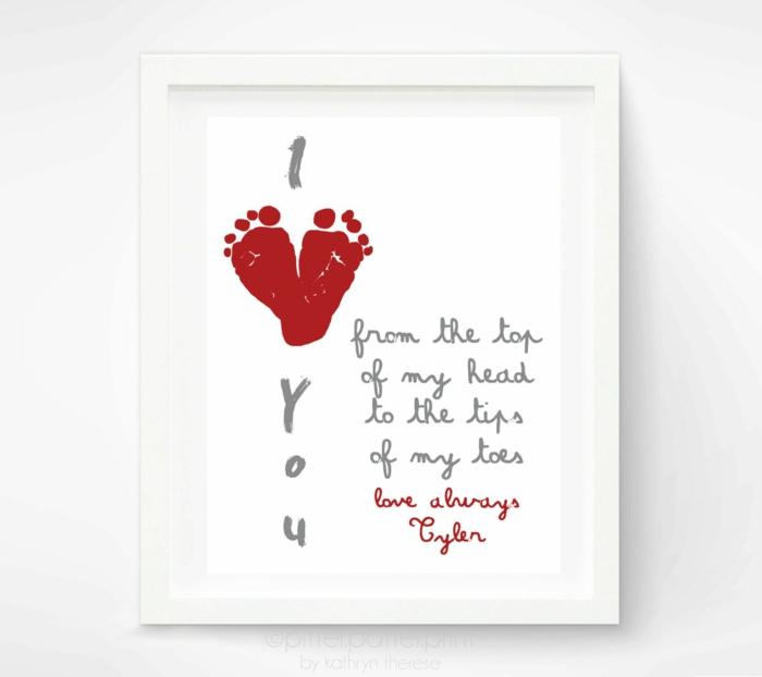 Je t'aime papa cadeau fete des peres bebe, que faire pour le pere de votre bebe cadeau carte avec empreinte des pieds