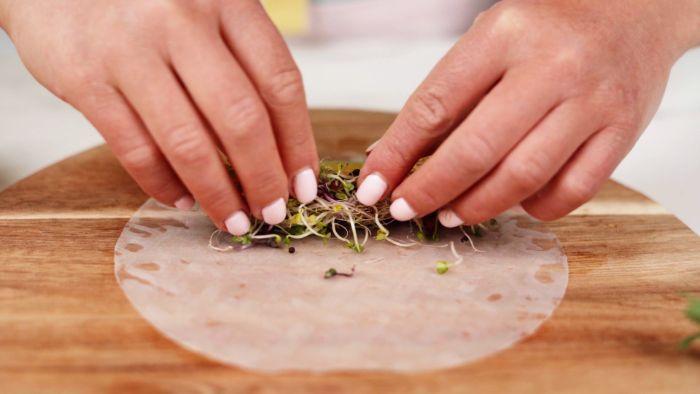 ajouter des pousses en top de crudités pour réaliser une recette rouleau de printemps simple avec crevette apero dinatoire