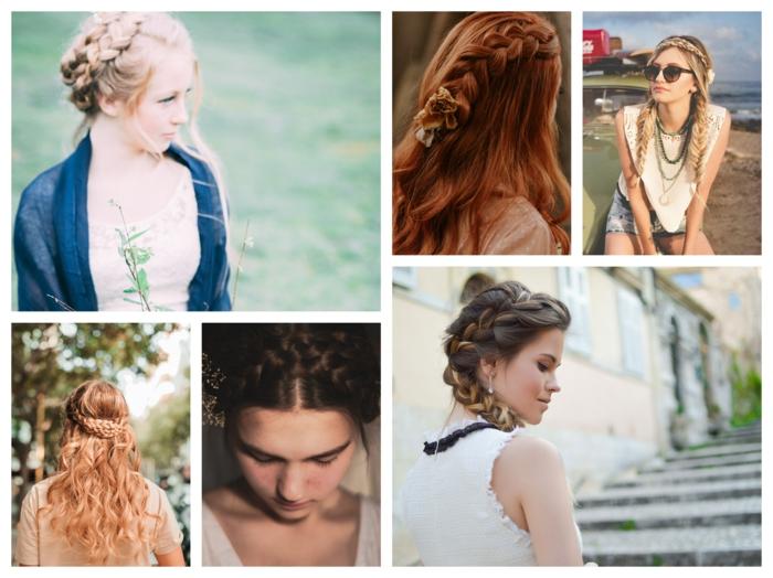 Femme différentes coiffures tresse, idée coiffure d'été au style bohème chic pour une occasion spéciale