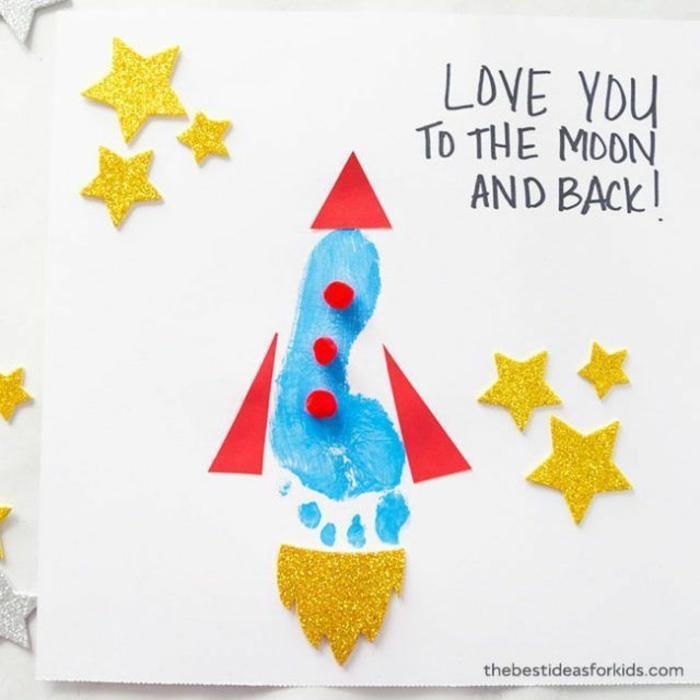 Créer une fusée d'empreinte de pied de bébé dessin originale idee cadeau fete des peres, originale idée de cadeau simple a faire
