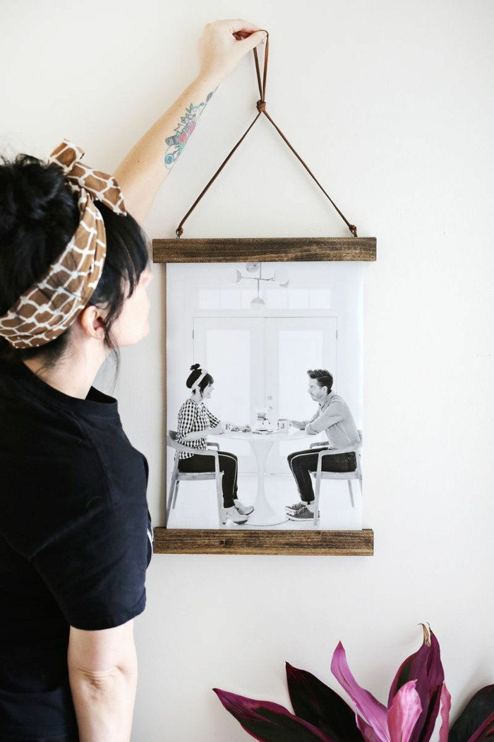 Simple cadre diy avec corde et bois planchers cadre photo mural, cadre pele mele photo,souvenirs de vacances disposition