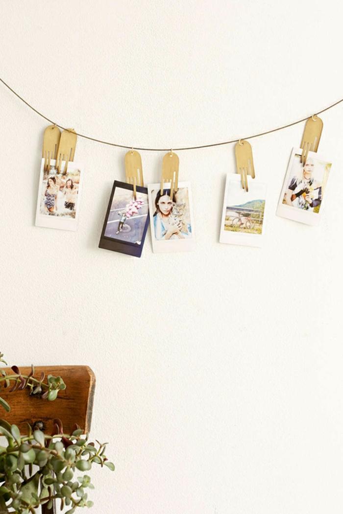 Photos instantanées sur corde cadre photo deco comment accrocher les photos qu on aime maison
