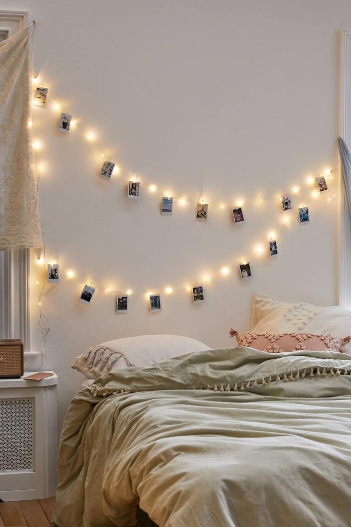 modèle de guirlande lumineuse chambre ado à personnaliser avec photos, idée comment décorer les murs dans sa chambre ado