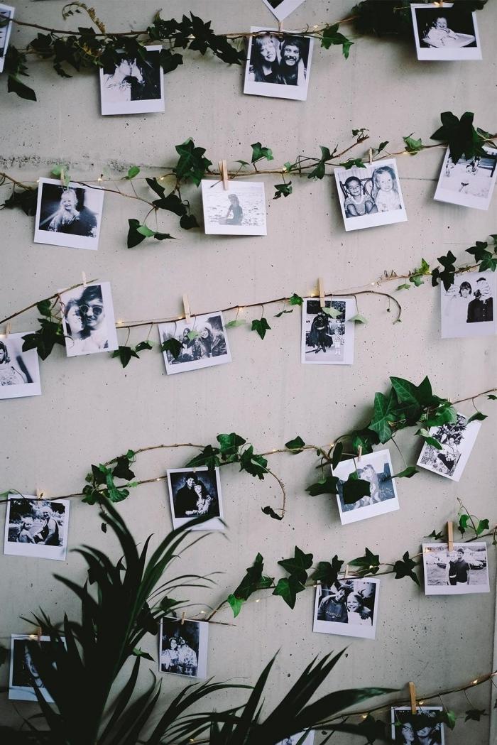 idee deco photo romantique, exemple comment décorer les murs béton dans un salon industriel avec guirlande DIY en photos