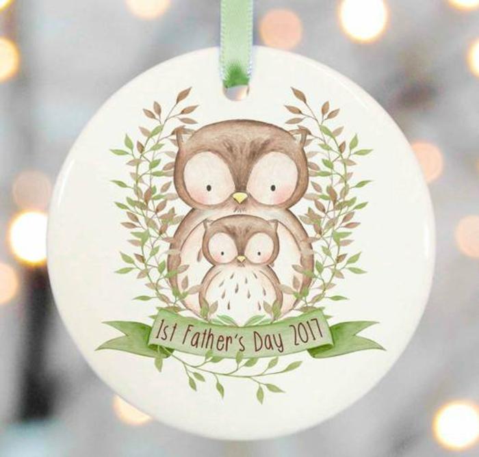 Hiboux pere et fille idée cadeau fête des pères à fabriquer facilement, carte de voeux animaux ornament
