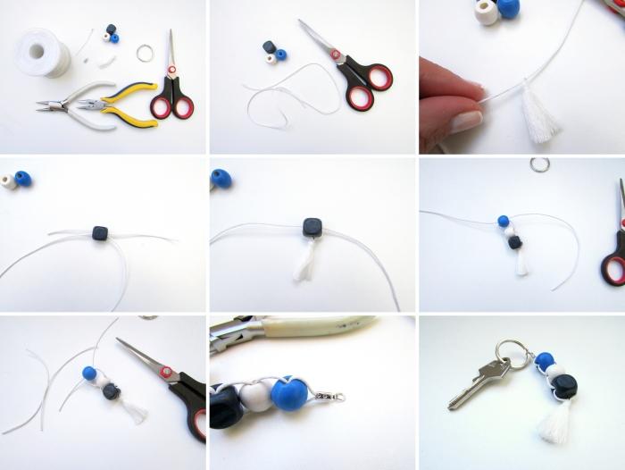 étapes à suivre pour réaliser un cadeau fête des pères original, fabrication porte-clé avec perles de différentes couleurs
