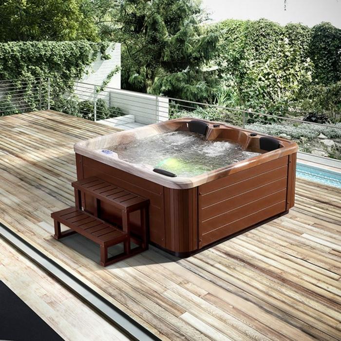 Comment choisir le spa extérieur le mieux adapté à votre maison, aménagement veranda plancher bois