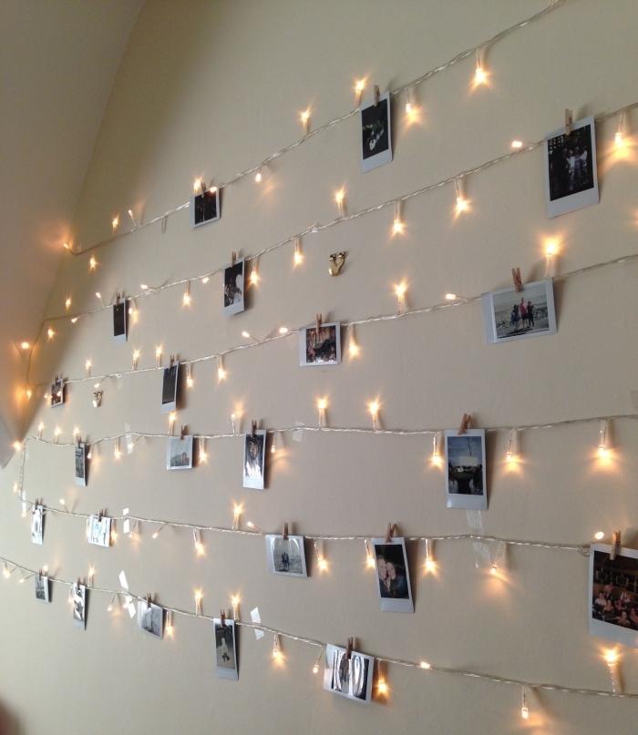 comment personnaliser les murs dans sa chambre avec une déco murale DIY, exemple de guirlande lumineuse chambre
