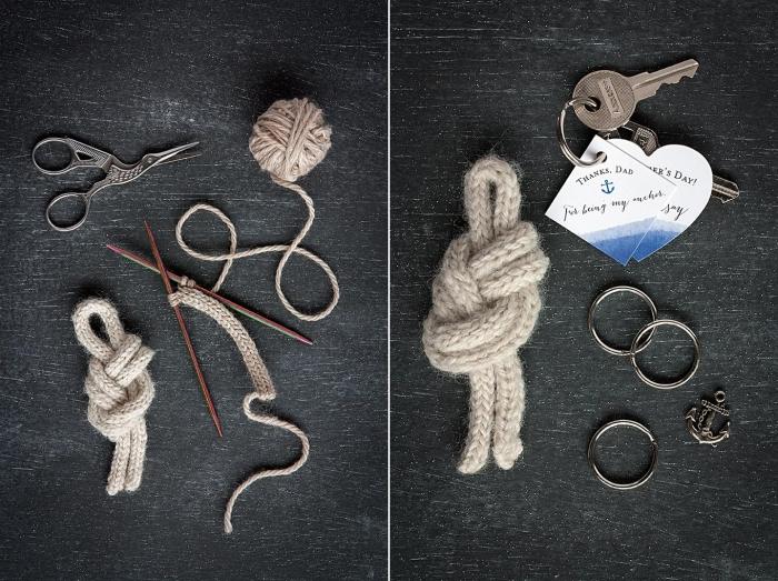 cadeau fête des pères original et petit budget, modèle de porte-clé fait maison avec anneau de saut et nœud marin