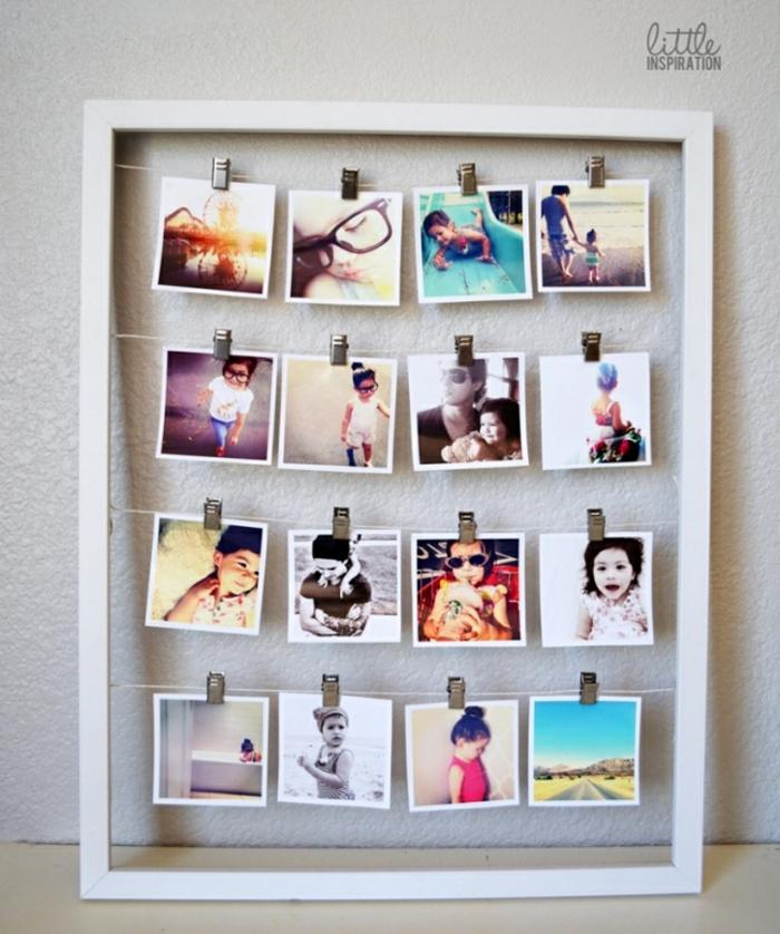 Grand cadre pour ranger quatre cordes en lignes avec pinceс cadre photo original, accroche photo jolie décoration de chambre