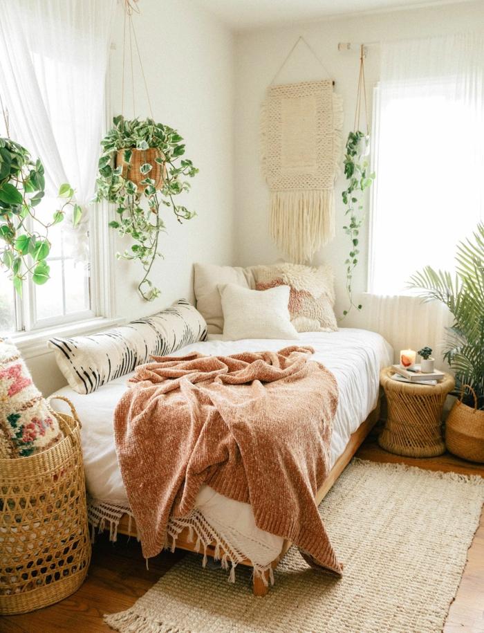Chambre ado hippie chic plantes vertes deco chambre nature, thème chambre bébé quelles couleurs utiliser