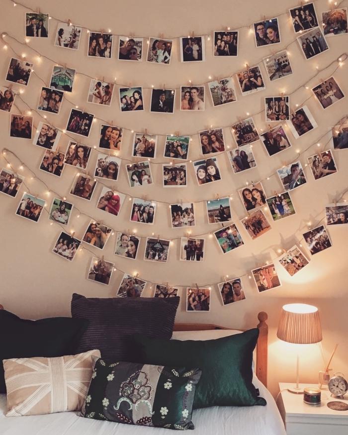 idée de deco lumineuse facile à faire avec photos et chaîne led, design chambre à coucher ado avec art mural en photos