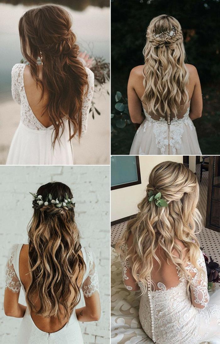Demi chignon tressé sur cheveux ondulés longs, femme coiffure de mariée bohème