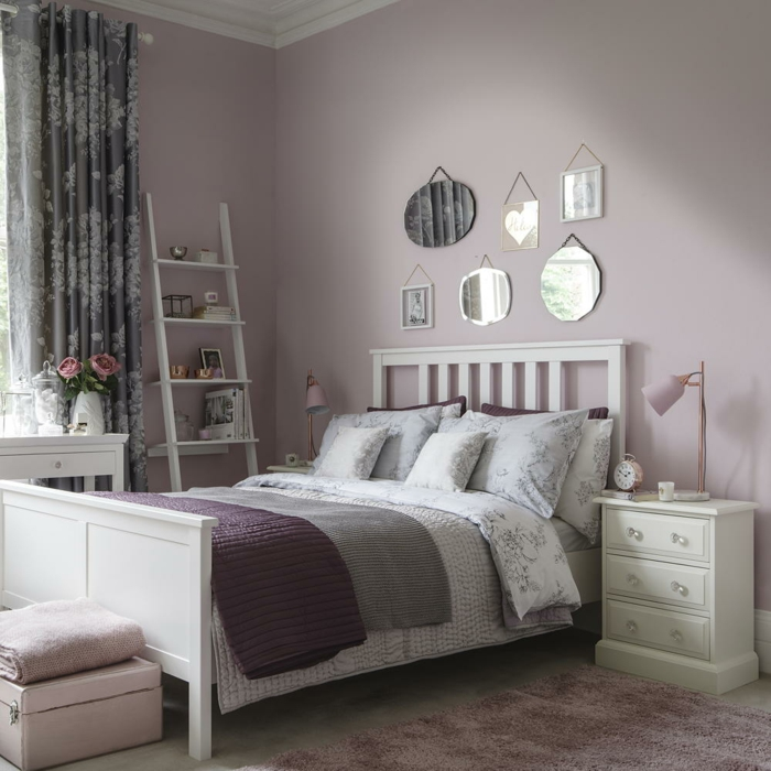 Grand lit chambre ado rose pale decoration murale chambre fille, thème chambre bebe belle déco