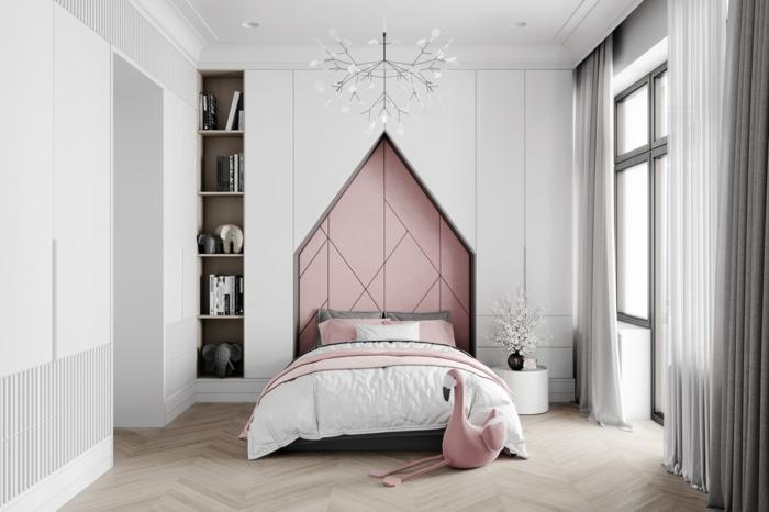 Mаison forme dans le mur lit inspiration thème chambre bébé, bricolage fille peintue rose et gris