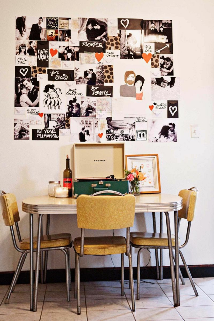 Bureau et pele mele photos en haut guirlande photo, cadre photo original pour bien décorer les murs