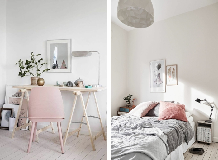 Bureau en bois et chaise rose adorable idée decoration chambre fille 10 ans, deco chambre nature inspiration