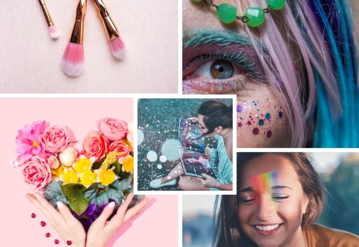 conseils pour réaliser son maquillage licorne facile et rapide, exemple de make-up de carnaval avec visage paillettes