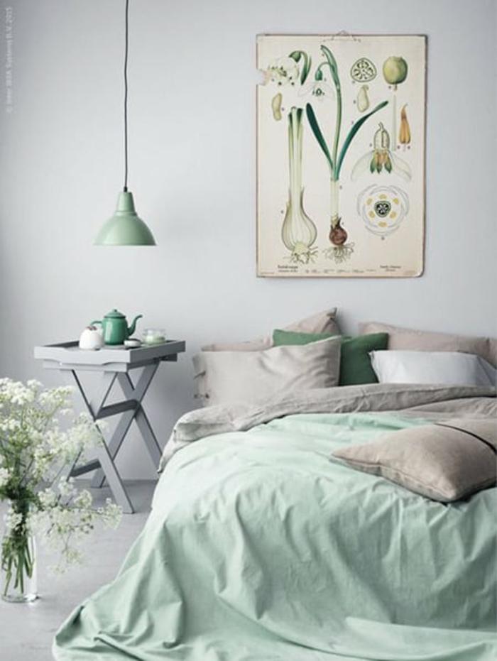 Peinture de fleurs vertes menthe couleur linge mur gris image chambre fille rose et gris, peinture chambre bébé fille