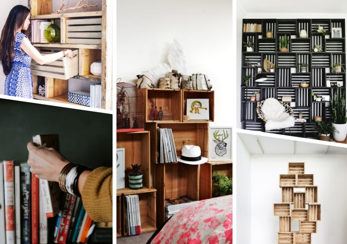 que faire avec des palettes, modèles de bibliothèque en palette à faire soi-même avec petit budget, modèle meuble pour livre DIY