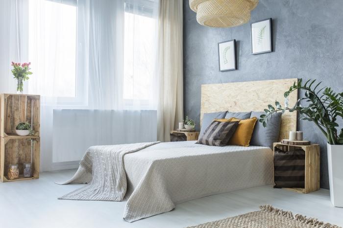 idée déco chambre parentale d'esprit nature et relaxation, quelles couleurs pour les murs dans une pièce parentale nature