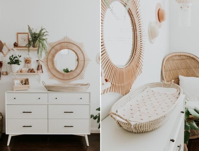 idée déco chambre bébé d'esprit nature, quelles couleurs pour une pièce d'enfant relaxante, design chambre bébé en blanc et beige