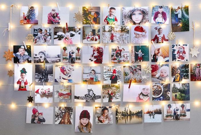 Guirlande lumineuse et réseau avec cadre photo mural, idée comment accrocher ses photos originalement