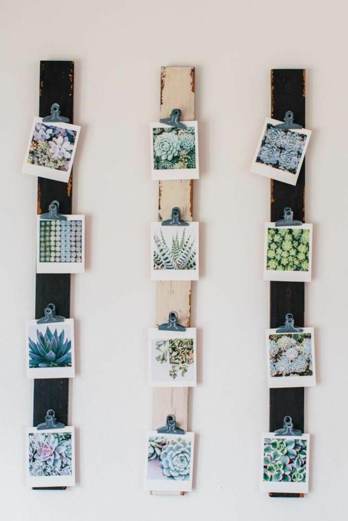 Trois planches avec pinces pour photos ipiration photo chambre, porte photo originale idée cadre multi photo