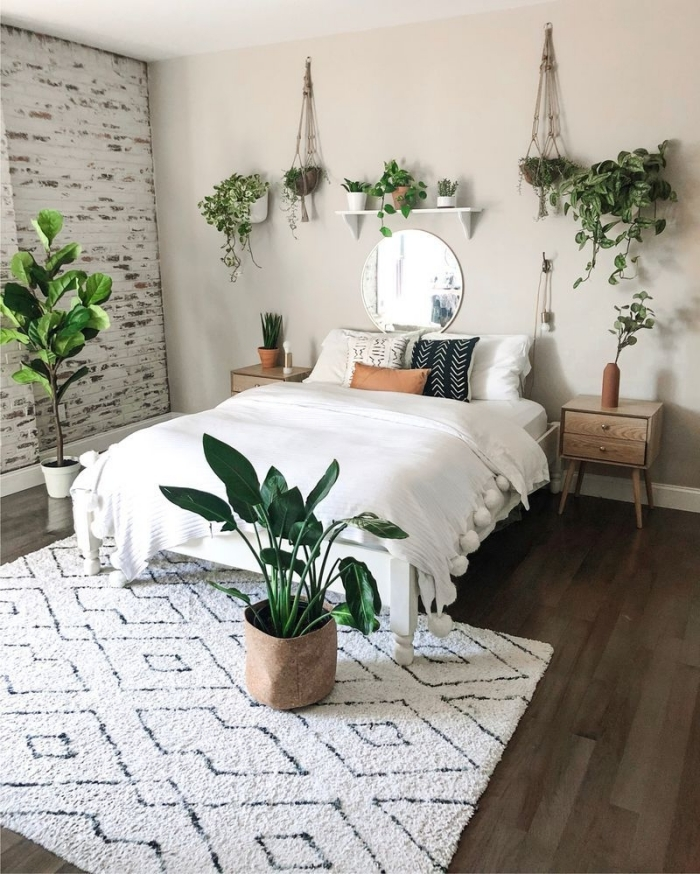 idee deco chambre adulte zen et relaxation, comment aménager une pièce de détente en couleurs terre et nature verte