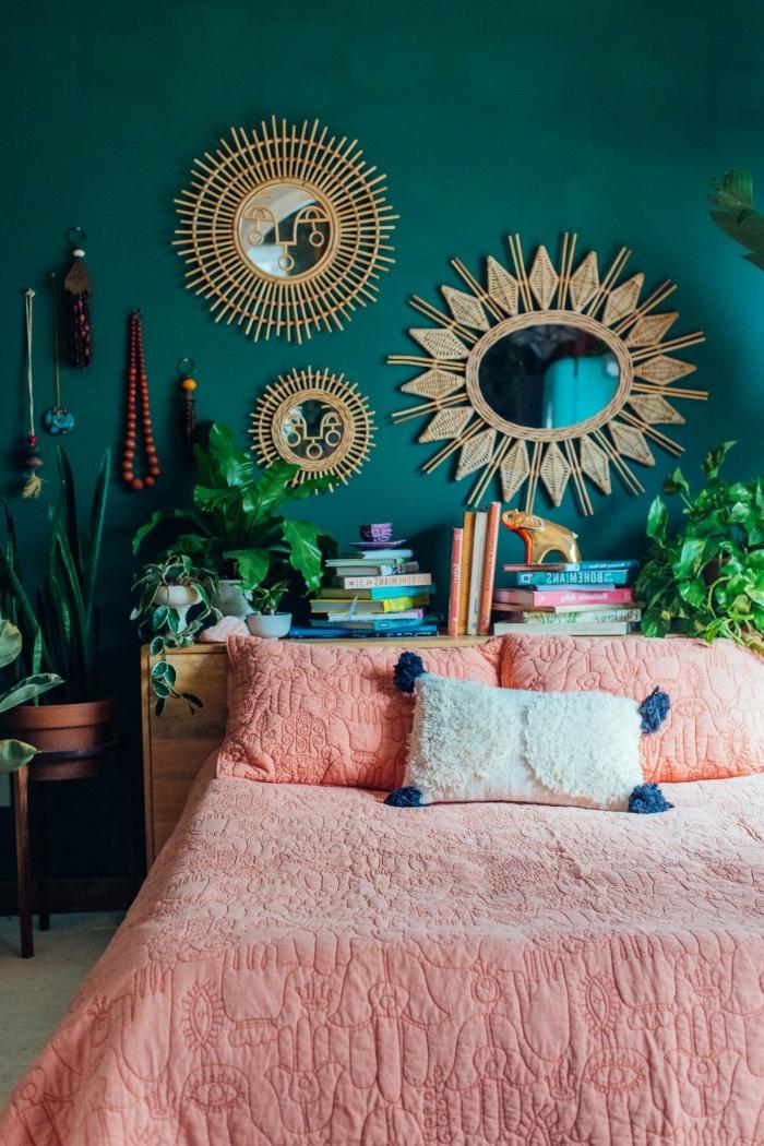 quelle peinture pour les murs dans une pièce moderne d'esprit urbain jungle, idée comment décorer sa chambre bohème
