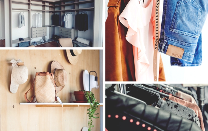 idée comment ranger sa collection de chapeau sur un mur en bois avec crochets, modèle de dressing d'angle ouvert