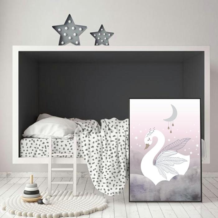Peinture de signe en fond rose et gris, idée chambre bébé mixte, chambre fille rose et gris belle chembre enfant