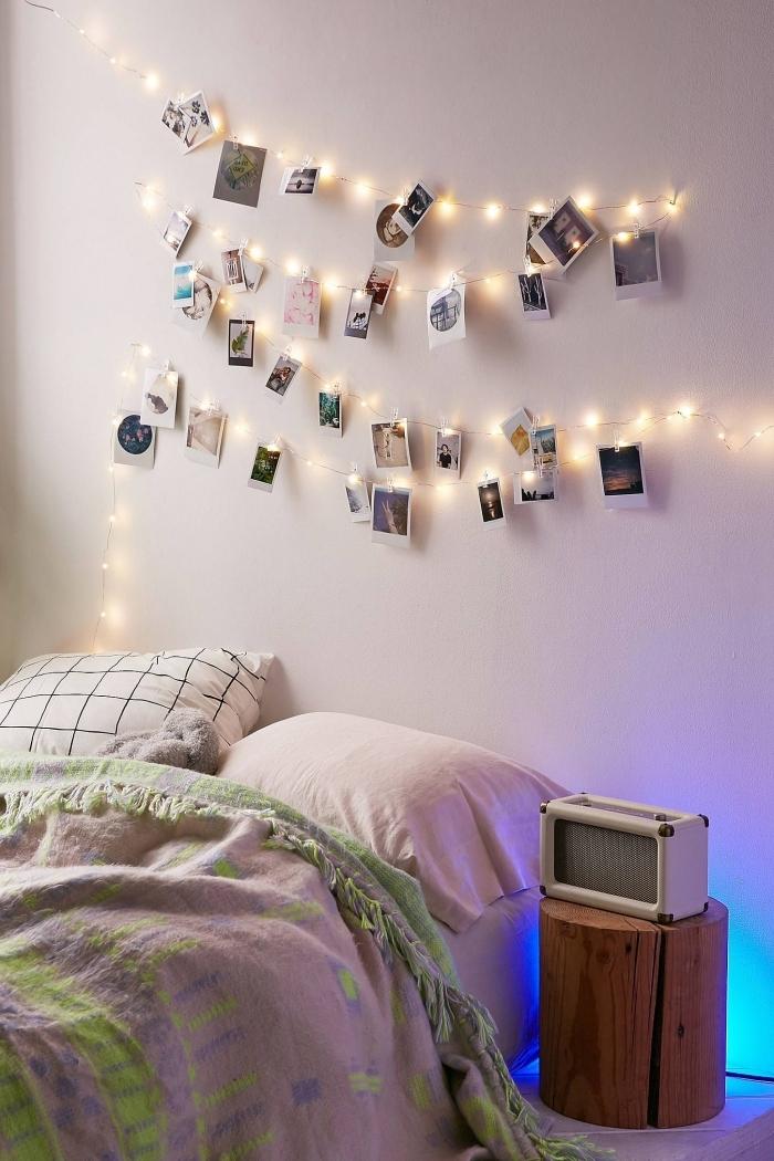 comment personnaliser une guirlande lumineuse interieur avec photos, idée comment décorer l'espace au-dessus de son lit