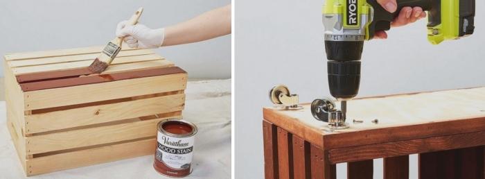 les étapes à suivre pour fabriquer bibliothèque en cagettes de bois repeintes et poncées, tutoriel facile de meuble diy en caisses bois