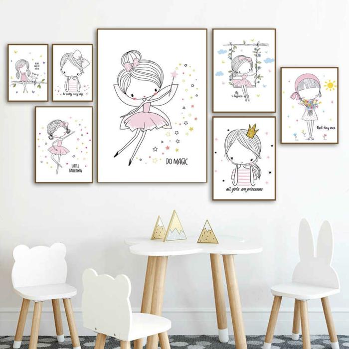 Peintures sur le mur fille ballet couleur chambre fille, la plus belle deco chambre bebe fille scandinave