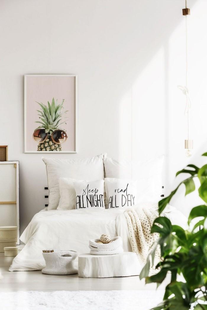 décoration chambre à coucher adulte photos, design intérieur de style exotique et minimaliste dans une chambre blanche