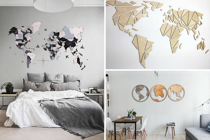 Peindre ou coller une grande carte du monde sur le mur, déco murale pour sublimer la pièce