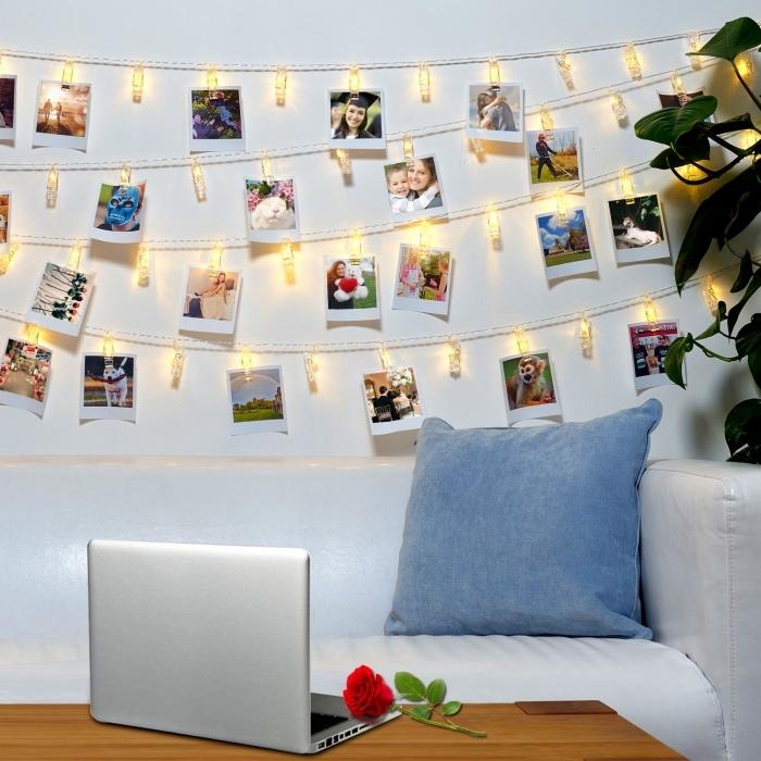 exemple comment personnaliser les murs chez soi avec une guirlande lumineuse photo, déco à faire avec chaîne led et photos