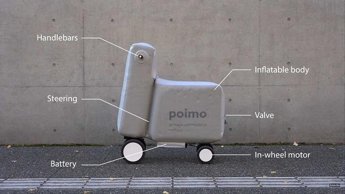 Avec Poimo, la trottinette s'allège et devient gonflable grâce ç des étudiants japonais