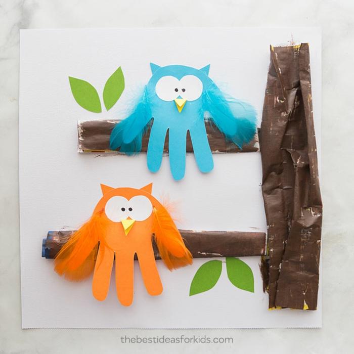 Creer des objets en soulignant sa main hiboux sur branche activité fete des peres, inspiration cadeau fete des peres a fabrique