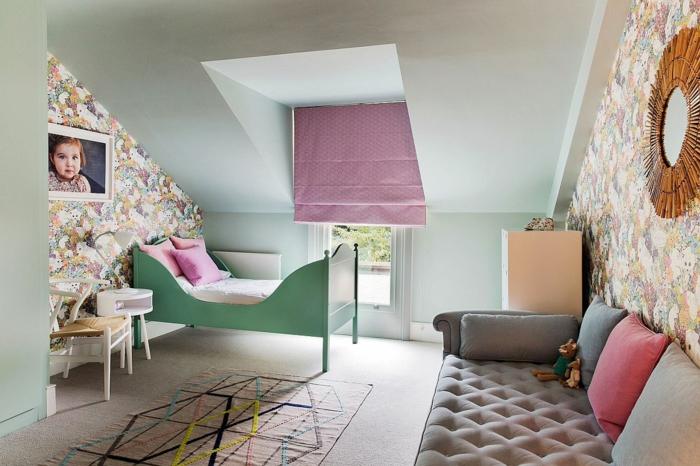 Vert lit enfant extensible lit cool rideau rose deco chambre nature, peinture chambre bébé et enfant cool