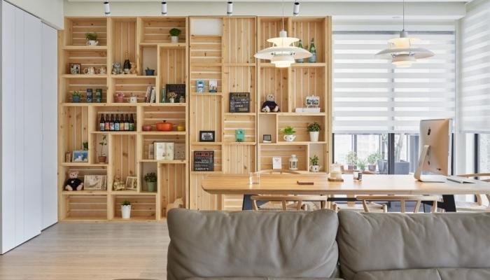 exemple comment faire une etagere en palette ou caisses bois, décoration murale avec cagettes de bois en forme de bibliothèque