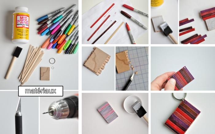 bricolage fête des pères facile, étapes à suivre pour fabriquer un porte-clé avec morceau de bois décoré de bâtons en bois colorés