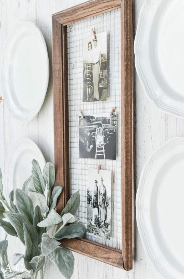 Cadre bois et réseau métal pele mele photo, cadre multi photo, porte photo mural, deco photo inspiration