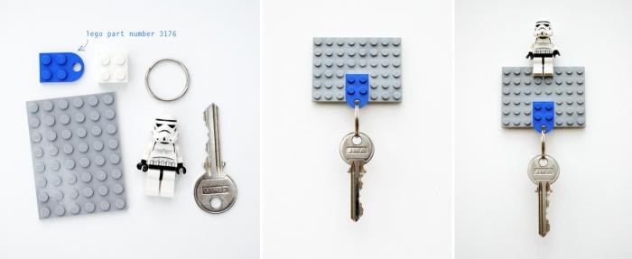 cadeau fête des pères a fabriquer facile, idée comment faire porte-clé originale avec pièces Lego, activité manuelle pour fête des père