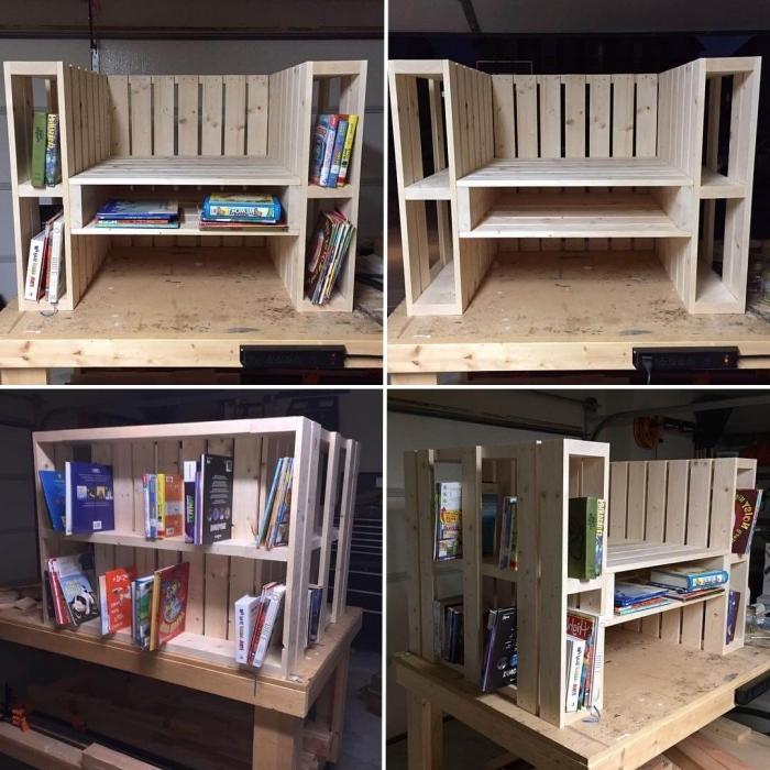 idée de meuble en palette facile à faire et à petit budget, meuble fauteuil avec étagères pour livres en palettes récupérées
