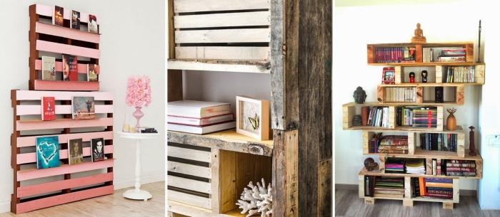 idée de meuble en palette facile à faire soi-même, modèles d'étagères en palettes de bois récupérées et repeintes avec peinture pour bois