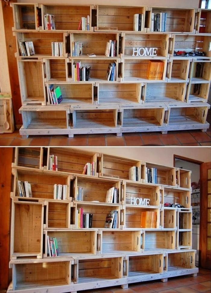 exemple comment faire une bibliothèque originale avec palettes ou caisses de bois recyclés, décoration murale avec bois