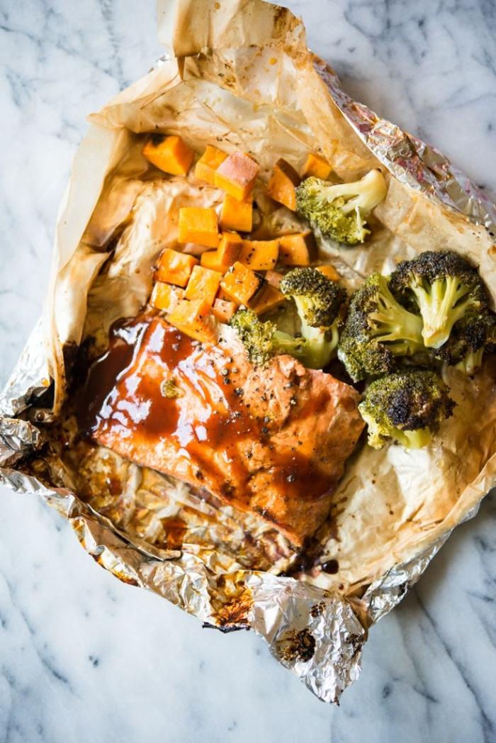 grillage barbecue en papillote ou pavés de saumon en papillote à faire chez soi avec brocoli et patates douces à la sauce barbecue