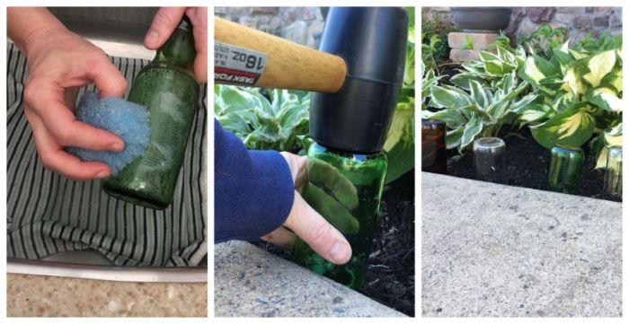 deco jardin recup avec bouteilles de vin en verre recyclées et plantées dans le sol avec marteau